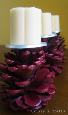 how-to: pine cone candle holder