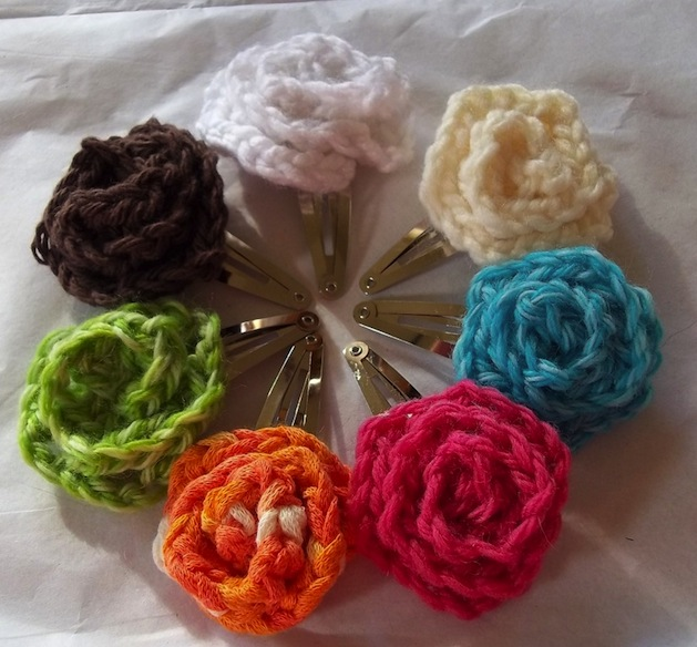 how-to: crocheted flower hair clips make handmade, crochet, craft