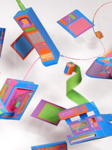 shredded paper recycling: flashy papercraft gadgets