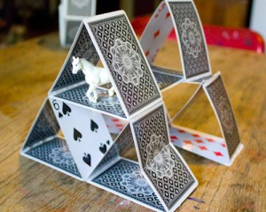 upcycled playing card house of cards
