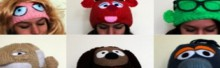 set of knit muppet hats