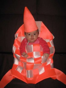baby-in-a-bag tintin rocket costume