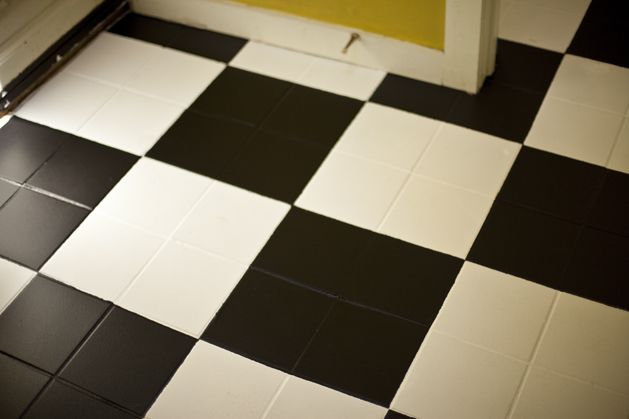 Painting floor tiles white