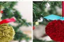 fabric pom pom ornaments