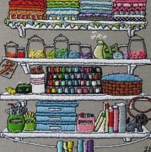 embroidered crafting shelves