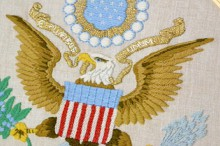 replica of presidential seal stitched by nixon's daughter