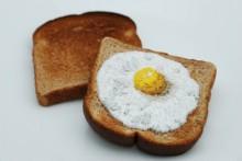 needlework on breakfast foods