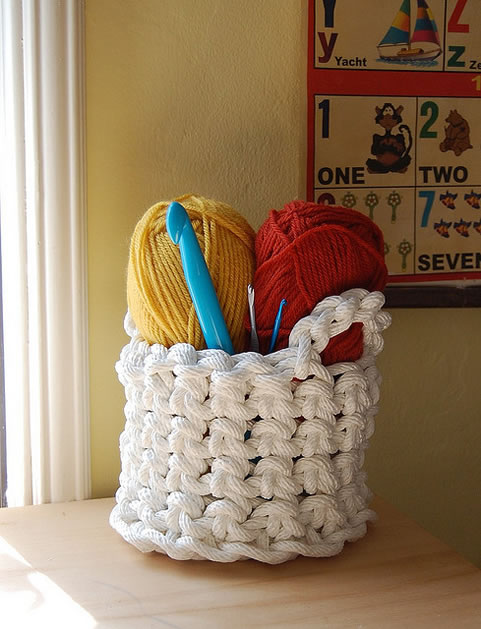 Handmade Nylon Basket : How to crochet rope basket make handmade craft