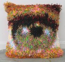 colorful latch-hook eye pillows