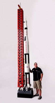 massive apollo 11 saturn v model built out of lego
