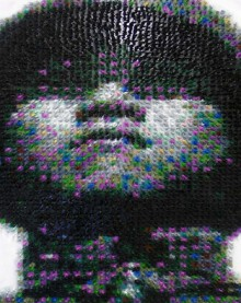 chinese soldier portrait made from toy soldiers made in china