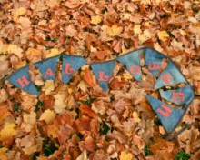 five upcycled autumn buntings and garlands