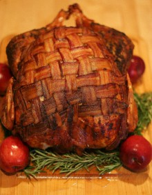 recipe: bacon-blanketed, herb roasted turkey