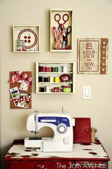 how-to: wine box sewing room decor