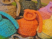 a bowl of knitted grenades