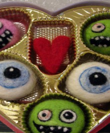 needle felted zombie valentine candies