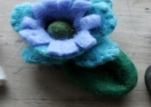 how-to: felted mushrooms and flowers from felted stones