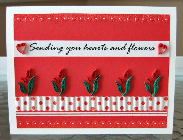 project: quilled hearts & flowers valentine