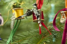 project: sparkling thread spool ornaments