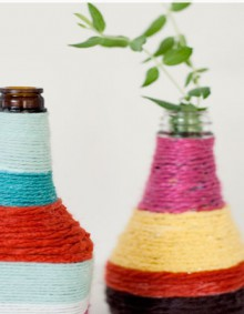 how-to: yarn-wrapped bottles