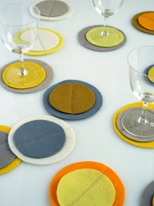 how-to: gold and silver felt coasters