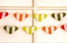 striped origami heart garland
