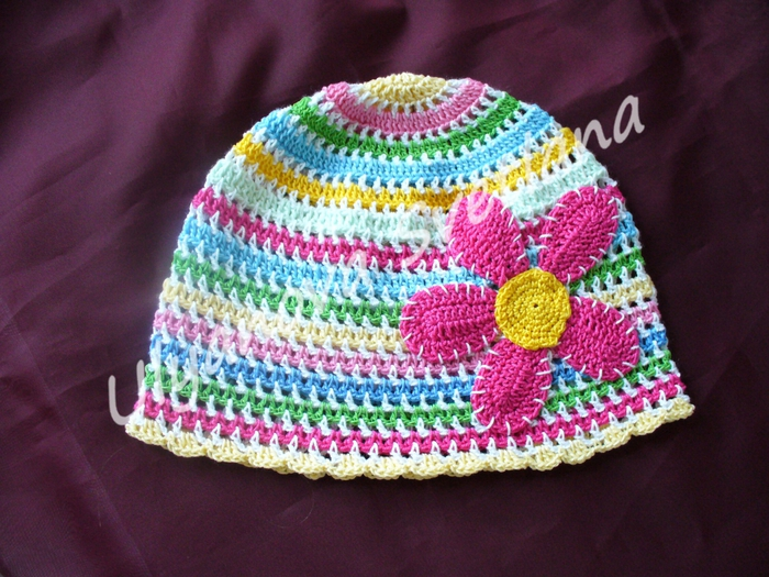 crochet colorful spring hat for kids