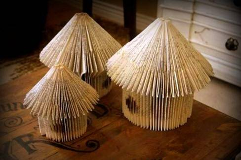Christmas craft ideas houses made of old books make for Book craft ideas
