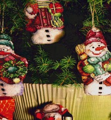 christmas tree ornament crafts: snowman cross stitch kits