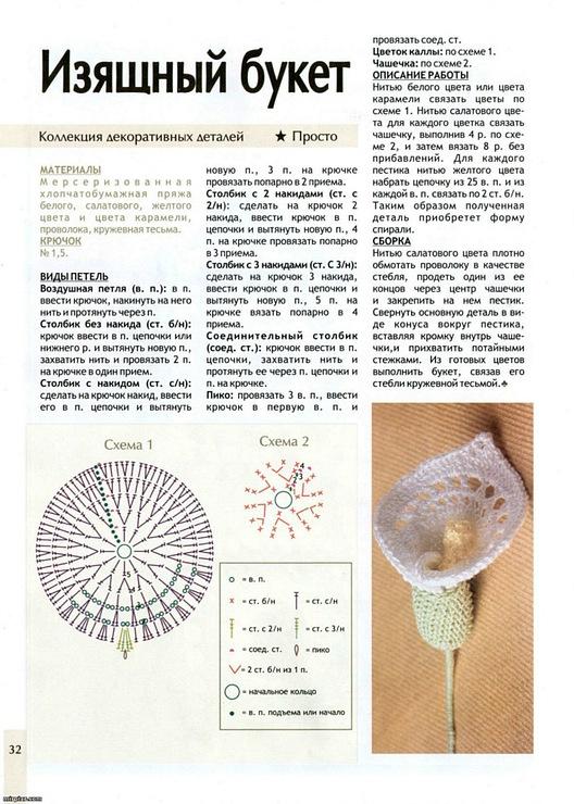 Одуванчики крючком схема и описание