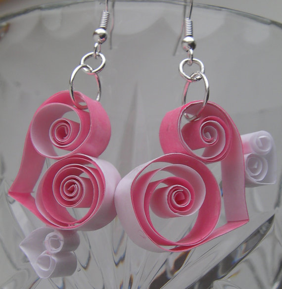 Cute Pale Pink and White Quilled Heart Earrings