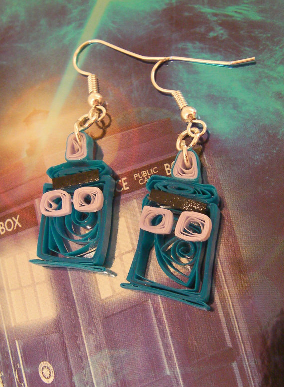 Cute Quilled Tardis Doctor Who Earrings