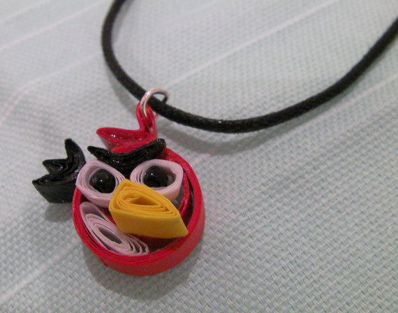 Red Paper Quilled Angry Birds Necklace