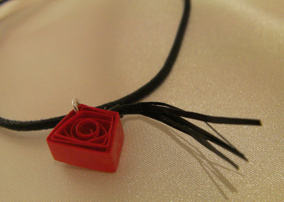 Doctor Who Paper Quilled Fez Necklace