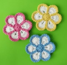 flower crochet 6 petals, video tutorial