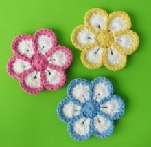 flower crochet 6 petals, video tutorial
