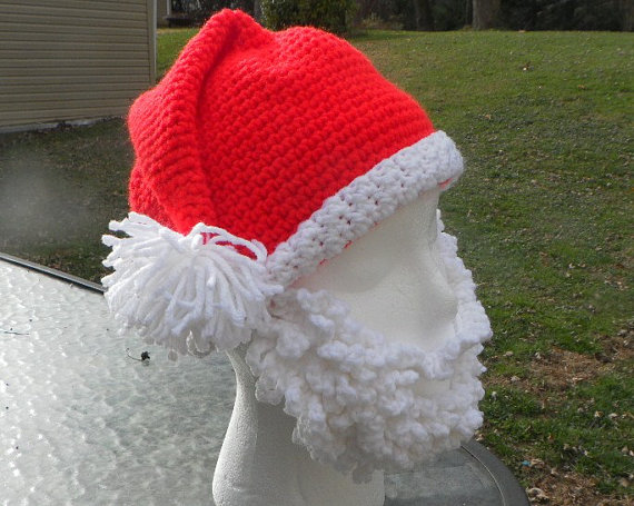 Crochet Santa Hat with Detachable Beard - Beard Beanie For Christmas