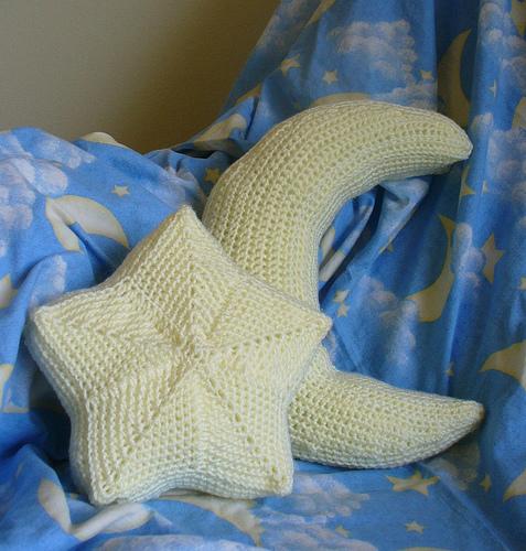 Star Moon Pillows Knitting Crochet Patterns Make Handmade