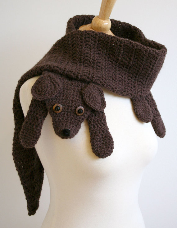 PDF crochet pattern for puppy love scarf - animal pet diy fashion tutorial winter fall autumn