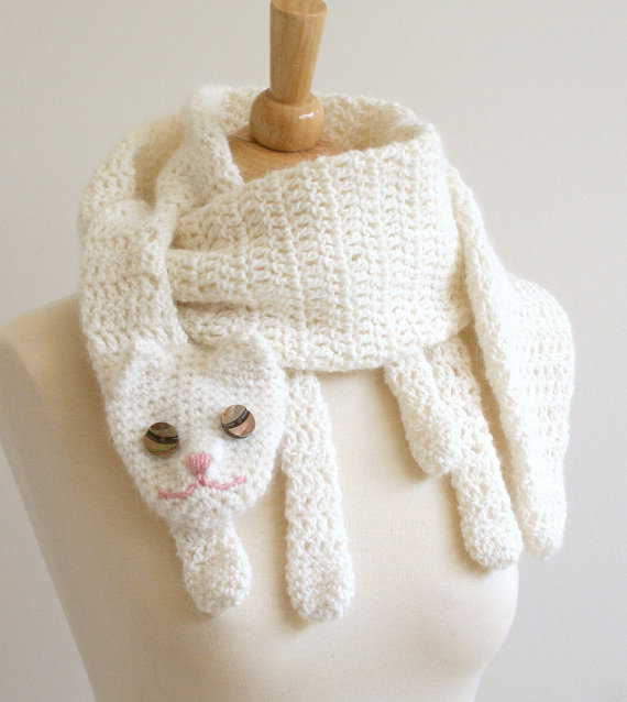Cat Cuddler Scarf  Animal Pet Warm DIY Fashion Tutorial Winter Fall  Crochet Childrens Scarf