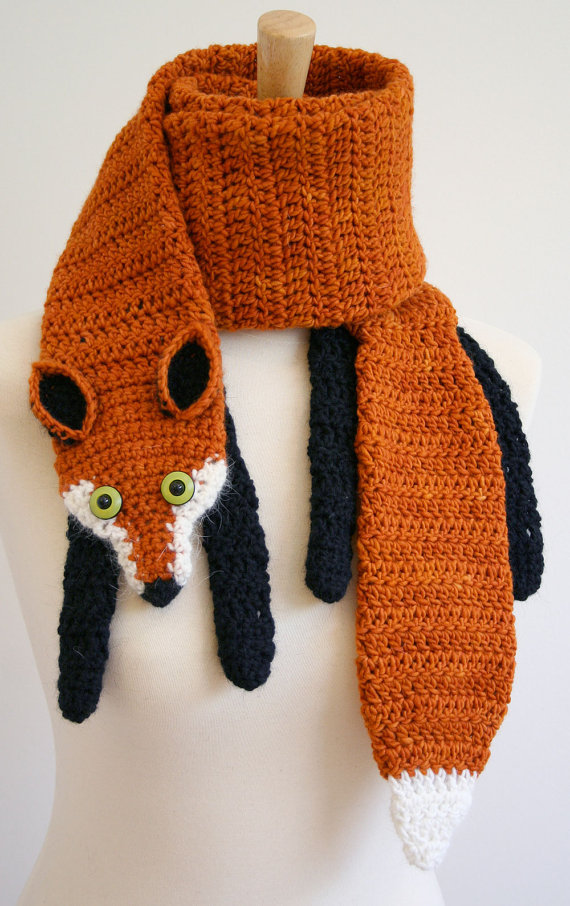 PDF Crochet Pattern for Fox Scarf - Animal Woodland Warm DIY Fashion Tutorial Winter Fall Autumn Accessories