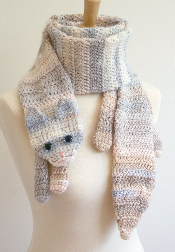 PDF Crochet Pattern for Calico Cat Scarf - Animal Pet Warm DIY Fashion Tutorial Winter Fall Autumn