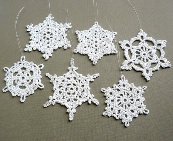 6 crochet christmas decorations large snowflake assortment st3 in white
