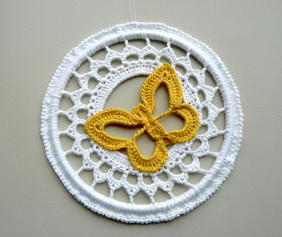 Crochet Butterfly Ornament -- Golden Yellow Butterfly
