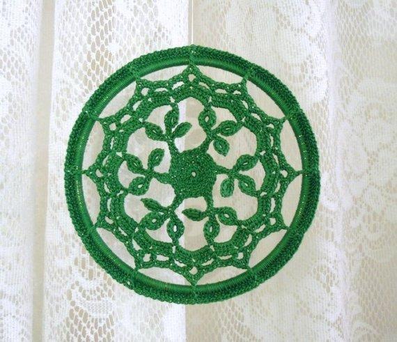 Crochet Ornament -- Leafy Green Mandala