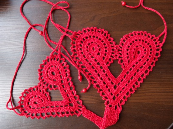 Hand crochet heart string thong panties