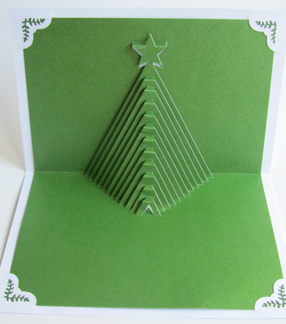 Christmas Tree Pop Up Home Décor 3D Handmade Cut by Hand Origamic Architecture in Forest Green and White.