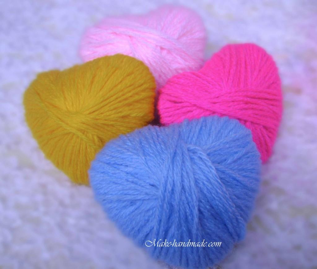 Valentine crafts ideas for kids wool sweet heart make for Craft with woolen thread