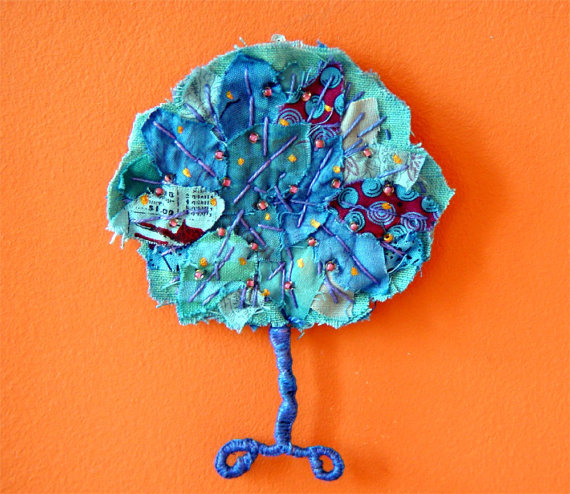 Textile tree wall ornament - Blue