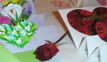 valentine handmade gifts: postcard-three hearts